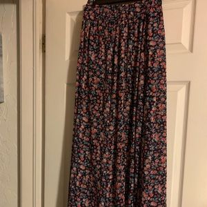 Flowered blue maxi skirt